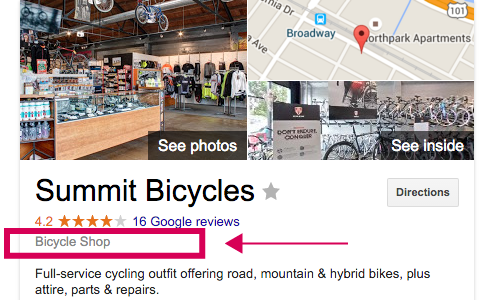 Local SEO Knowledge Graph image of Summit Bicycles